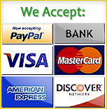 We accept PayPal, Bank, Visa, MasterCard, AMEX, and Discover payments